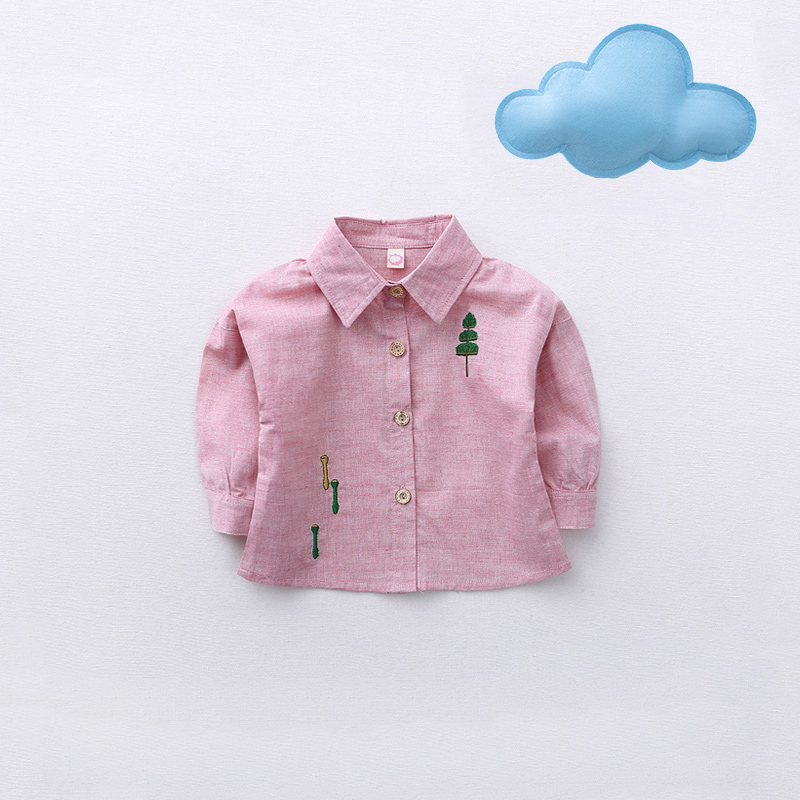 Sweet Tree Embroidery Long-sleeve Shirt in Pink for Baby Girls