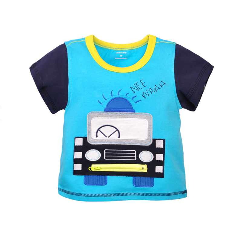 Cool Car Appliqued Contrast-sleeve Tee for Baby and Toddler Boys