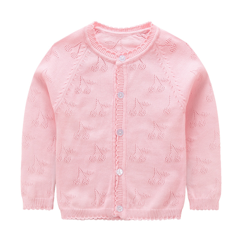 Sweet Hollow Out Knit Cardigan in Pink for Baby and Toddler Girls