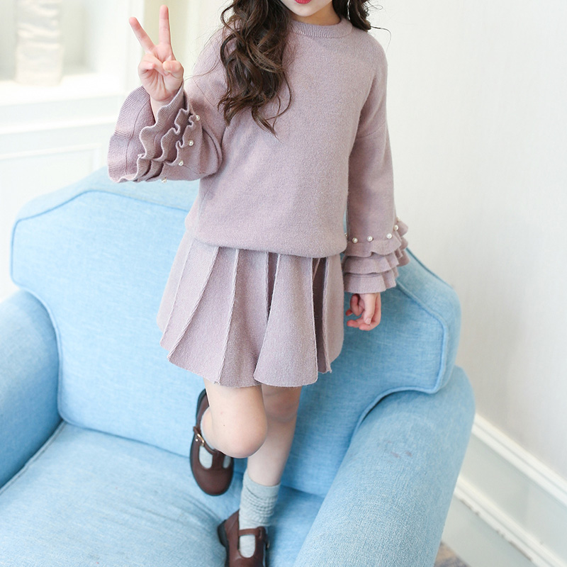 2-piece Elegant Pleated Long-sleeve Knit Top and Skirt Set