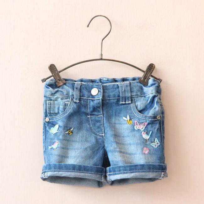 Embroidery Decor Denim Shorts for Little Girls