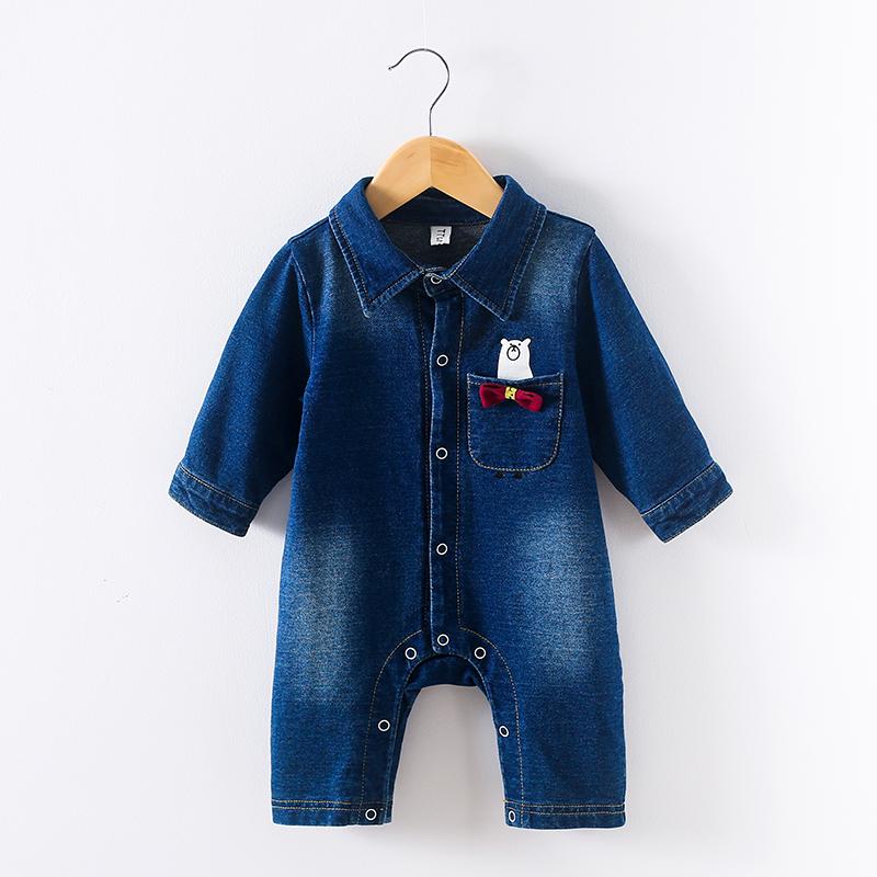 Cute Bear Pocket Long-sleeve Denim Short Jumpsuit for Baby
