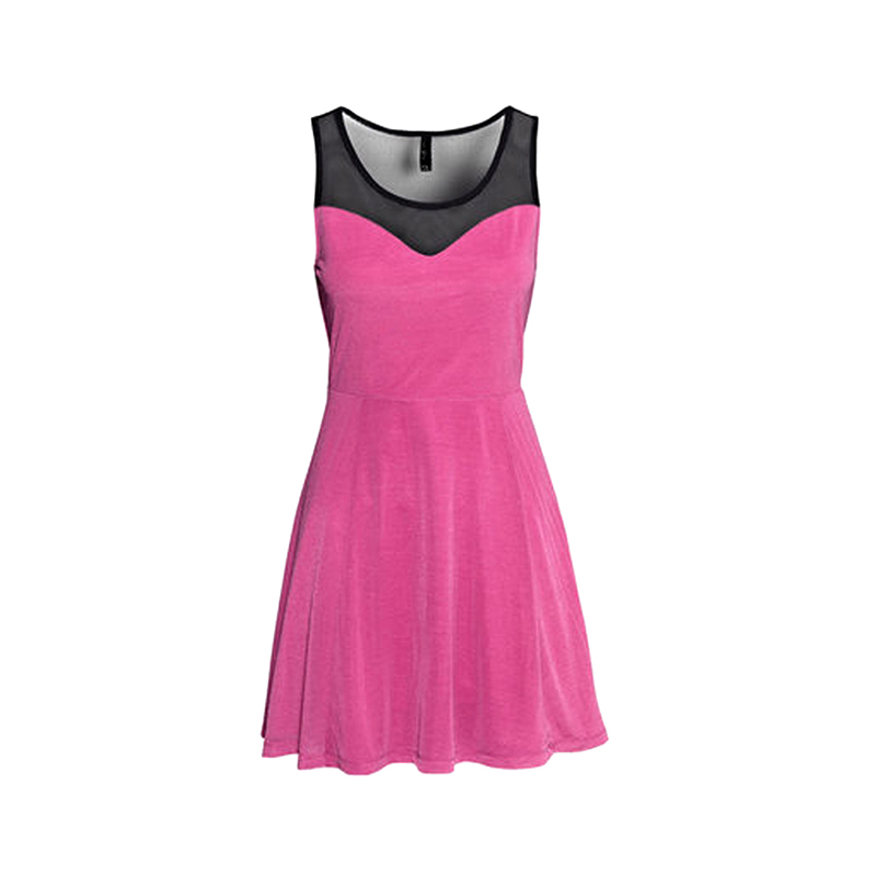 Sexy See-through Contrast Sleeveless Dress for Women