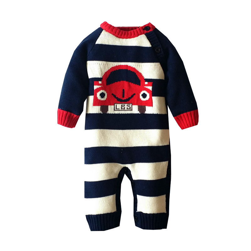 Cool Car Print Striped Knit Jumpsuit for Babies