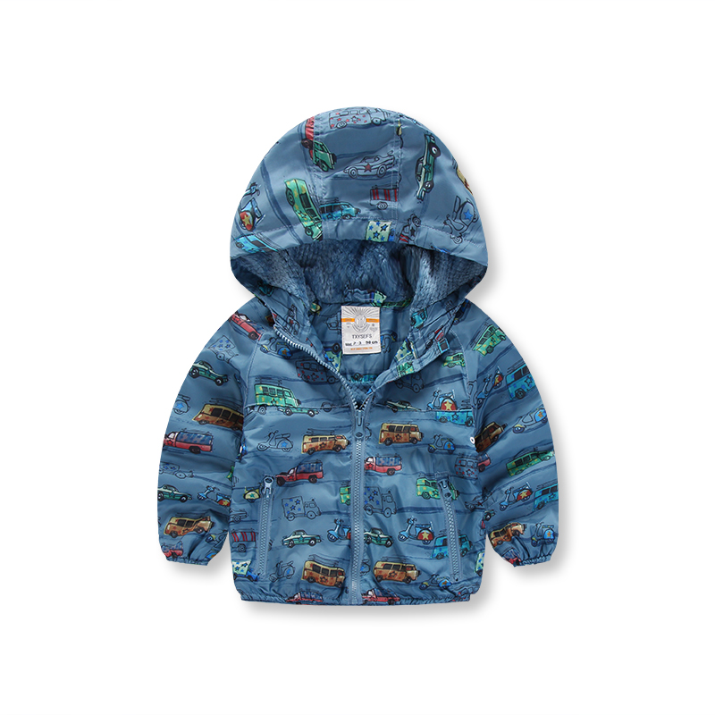 Cool Hooded Car Pattern Zip-up Coat for Babies