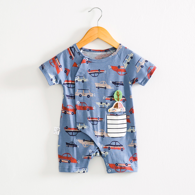 Allover Car Printed Short Sleeve Bodysuit in Blue for Baby Boys