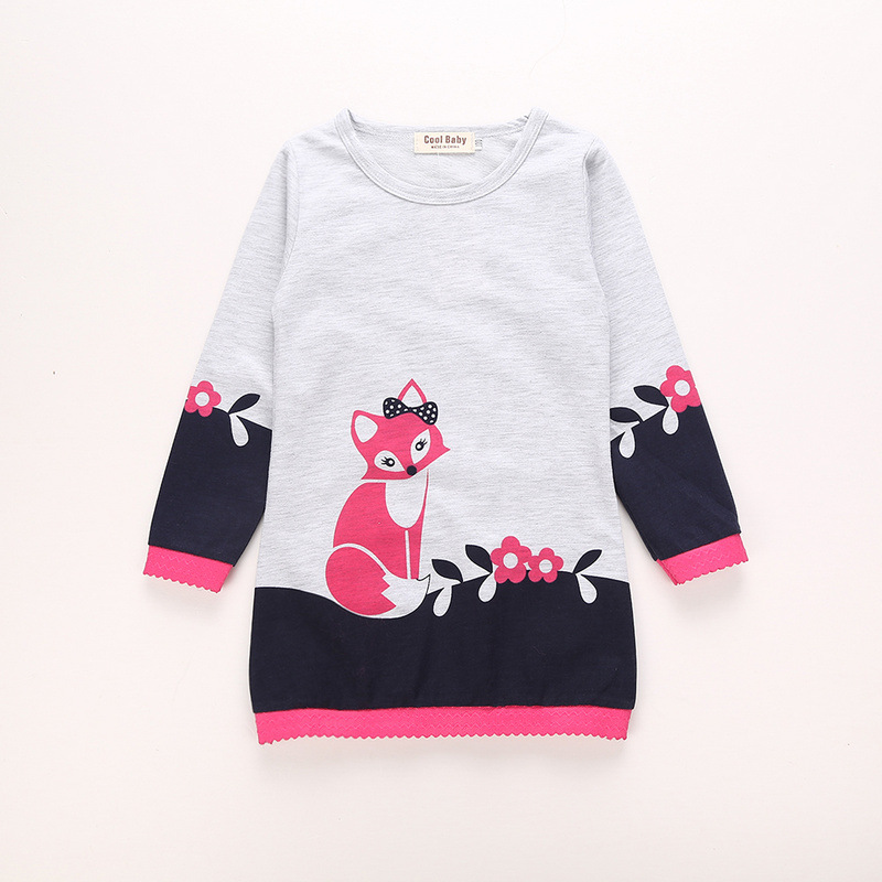 Lovely Fox Long-sleeve Knitted Top for Baby and Toddler Girls