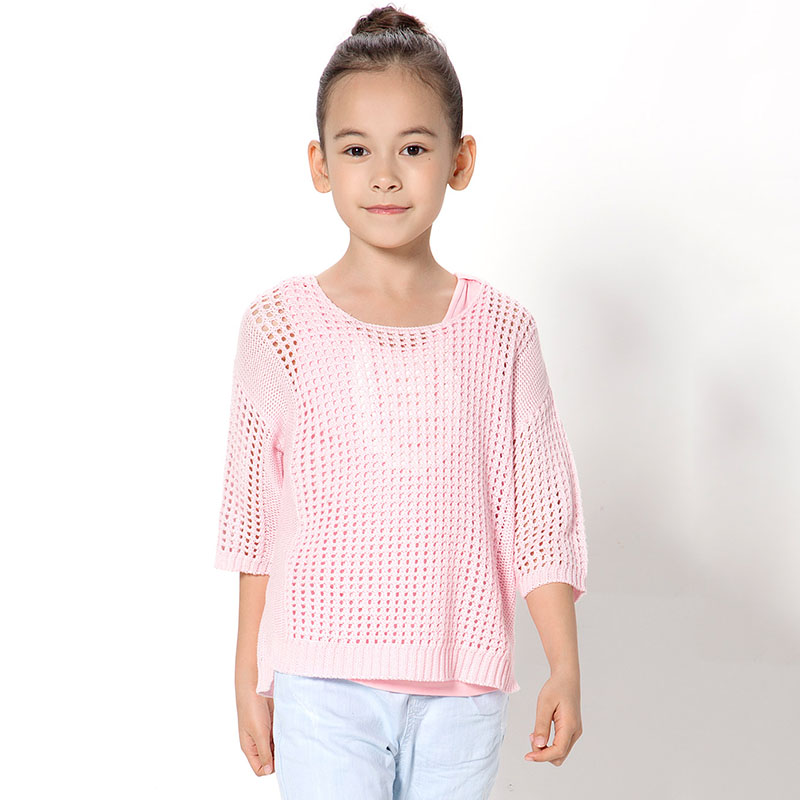 Fine Hollow Out Knit Long-sleeve Top for Girl