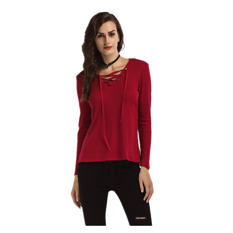 Sexy Crisscross Long-sleeve Knitted Top for Women