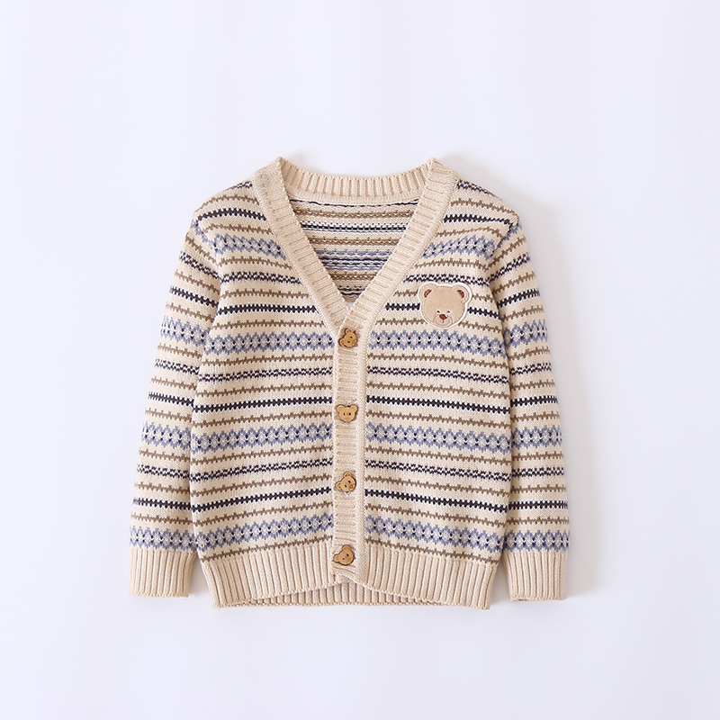 Baby and Toddler Boy's Adorable Striped Bear Knit Cardigan in Beige