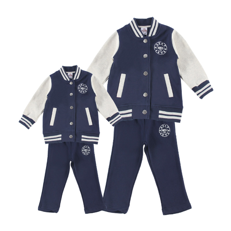 Stylish Fox Print Color-blocking Jacket and Pants Set for Family Matching