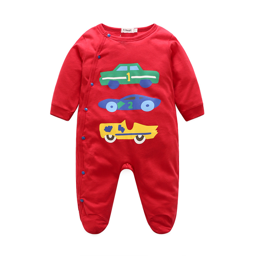 Stylish Cats Print Long-sleeve Footie Jumpsuit for Babies