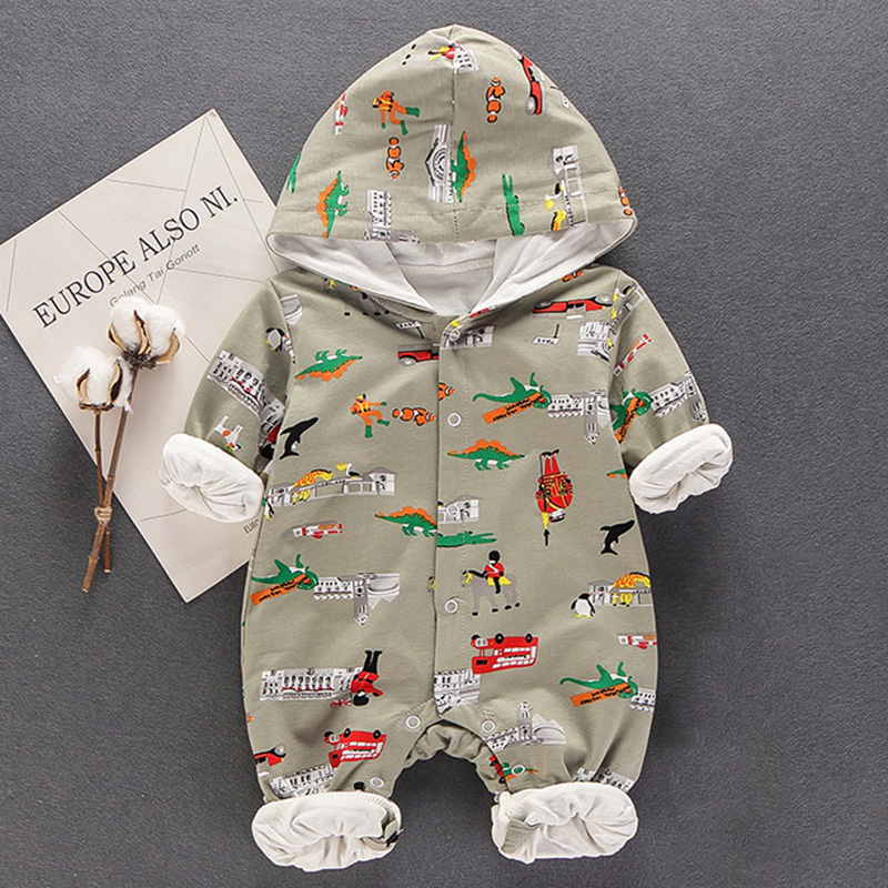 Car Pattern Hooded Button-front Jumpsuit for Babies