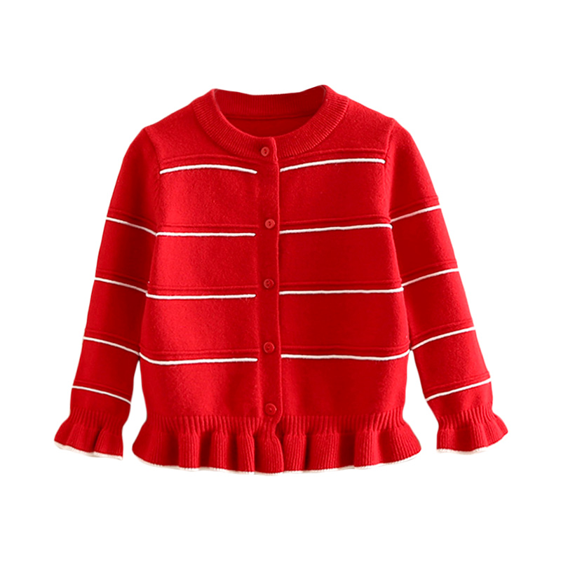Girl's Sweet Stripes Knit Cardigan in Red