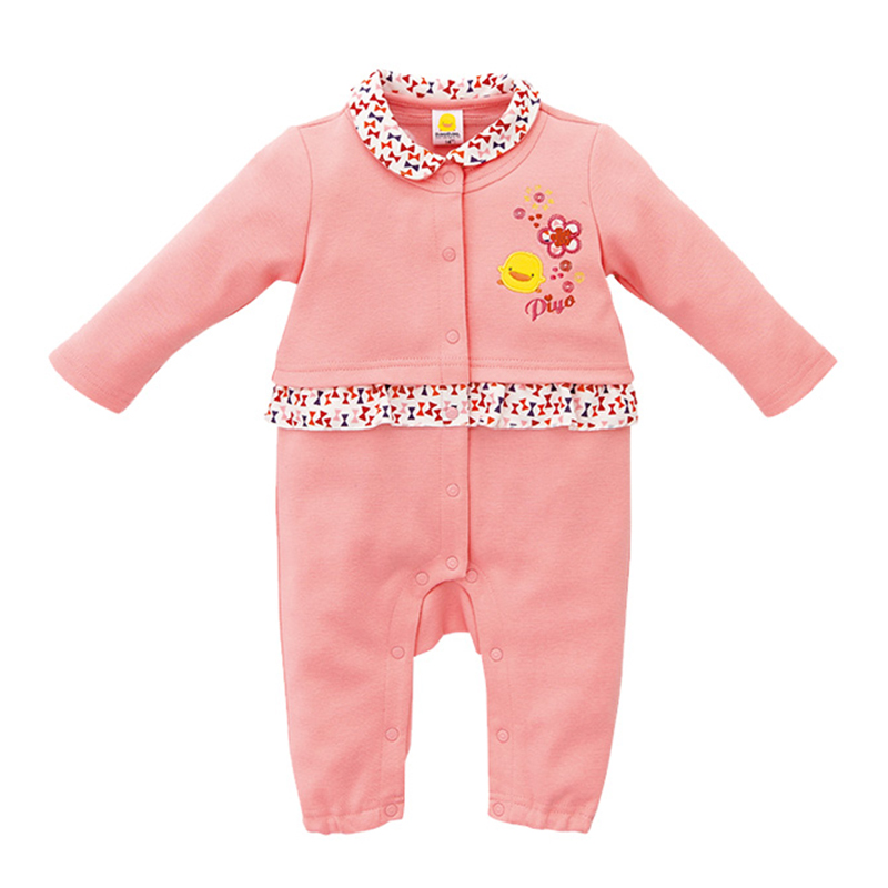 Lovely Floral Doll Collar Long Sleeve Jumpsuit for Baby Girls