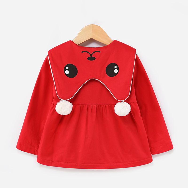 Baby Girl's Cute Doll Collar Fleece-lined Coat in Red