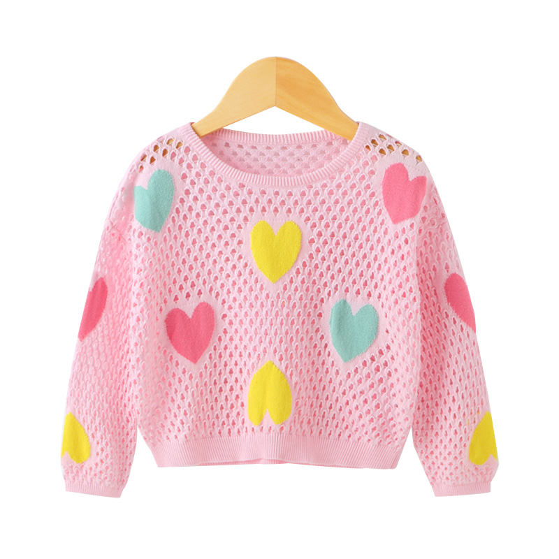 Love Graphic Hollow Out Knitted Top for Baby Girls