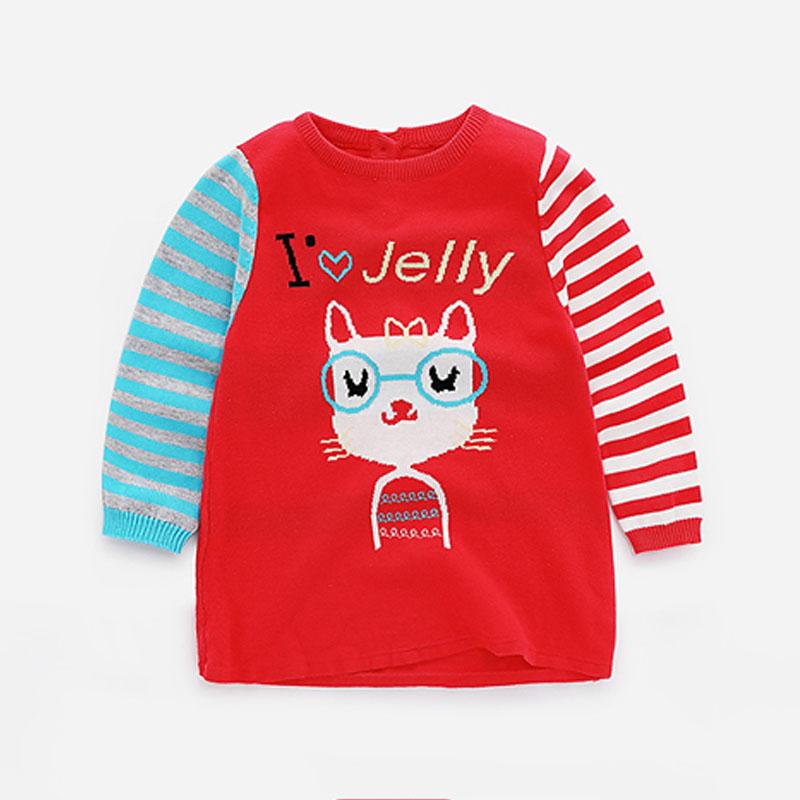 Lovely Cat  Print Long-sleeve Stripes Knitted Top for Little Girls