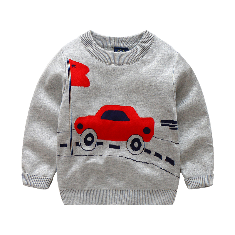 Cute Car Flag Pattern Knitted Pullover for Kids