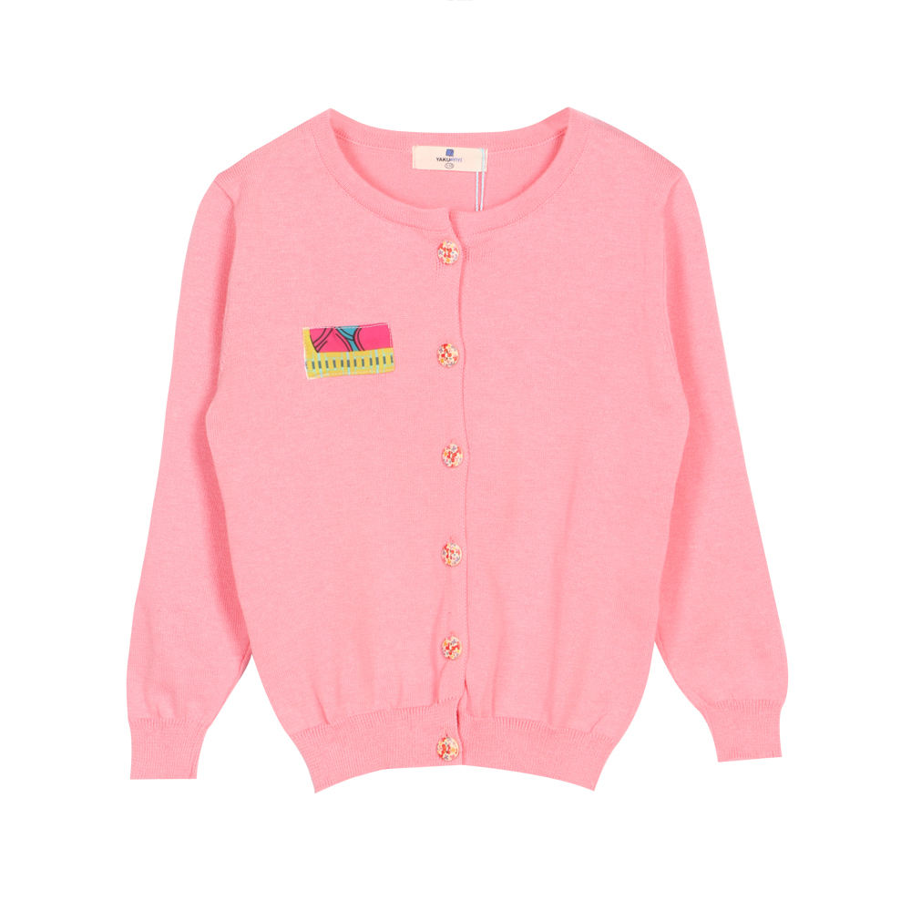 Sweet Rib Cuff Snap Front Pink Knit Coat for Girls