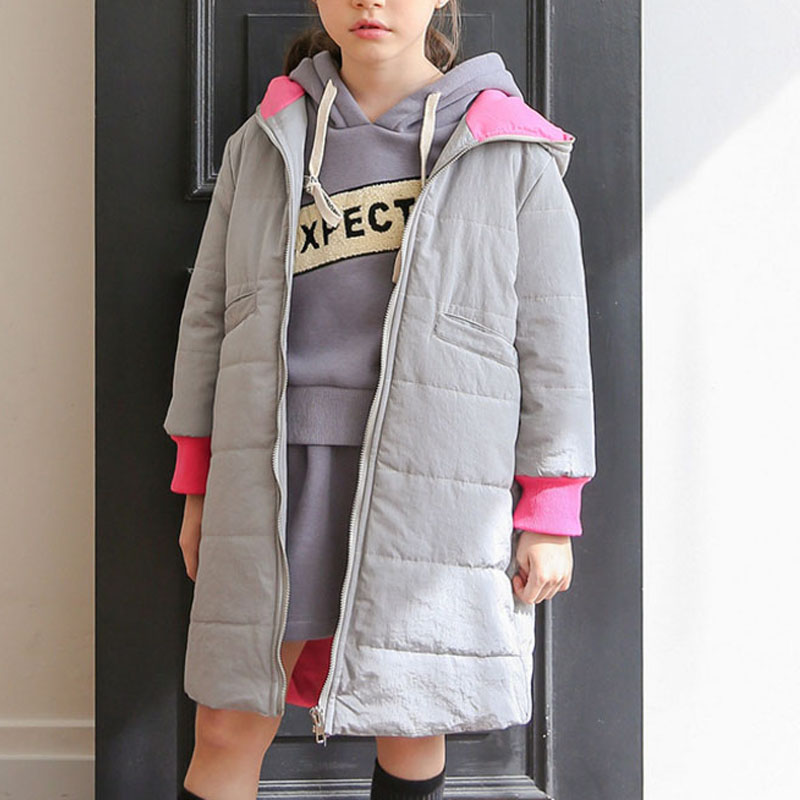 Girl's Little Monster Long Cotton Jacket in Grey