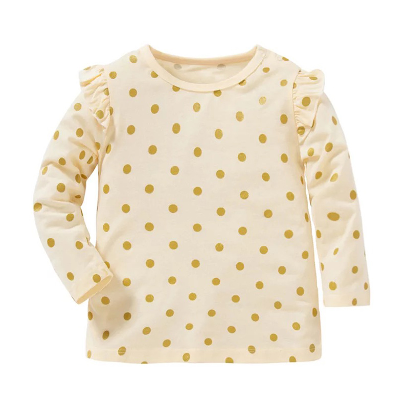 Lovely Flounced Polka-dot Long-sleeve Top for Baby and Toddler Girl
