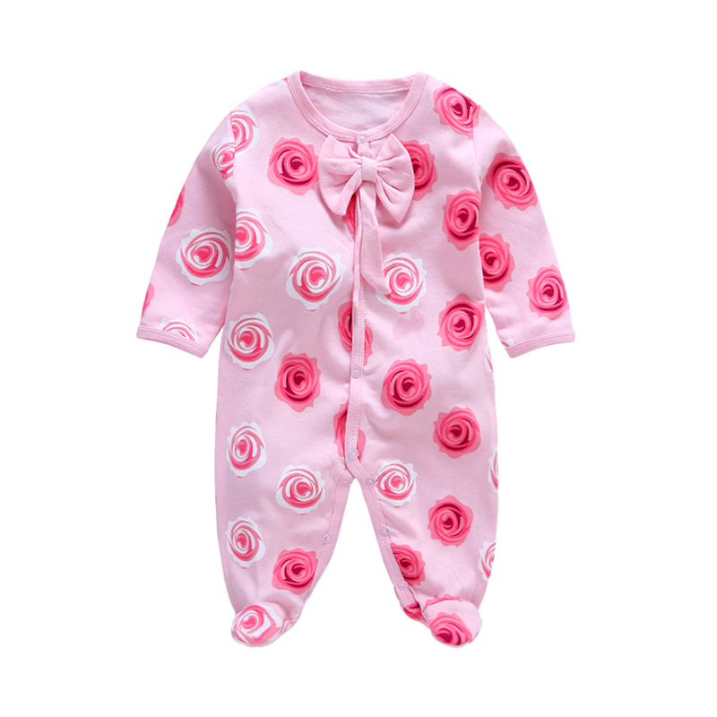 Sweet Floral Pattern Long-sleeve Romper for Girls