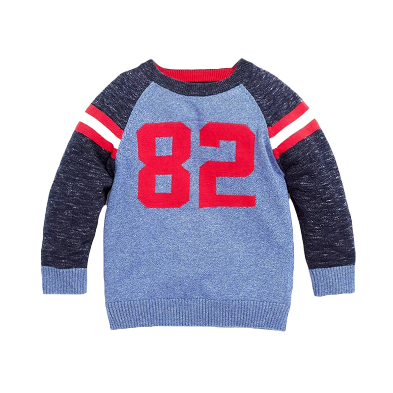 Boy's Stylish Letter Contrast Long Sleeve Knit Pullover in Blue