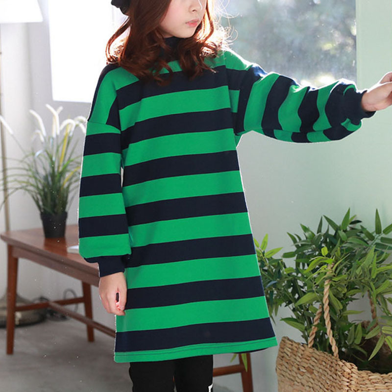 Girl's Casual Stripes Long Sleeve Dress in Green