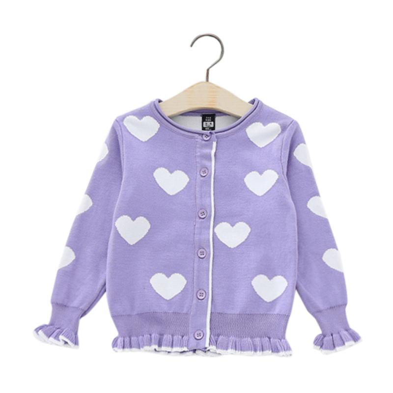Girl's Sweet Heart Pattern Knit Cardigan in Purple