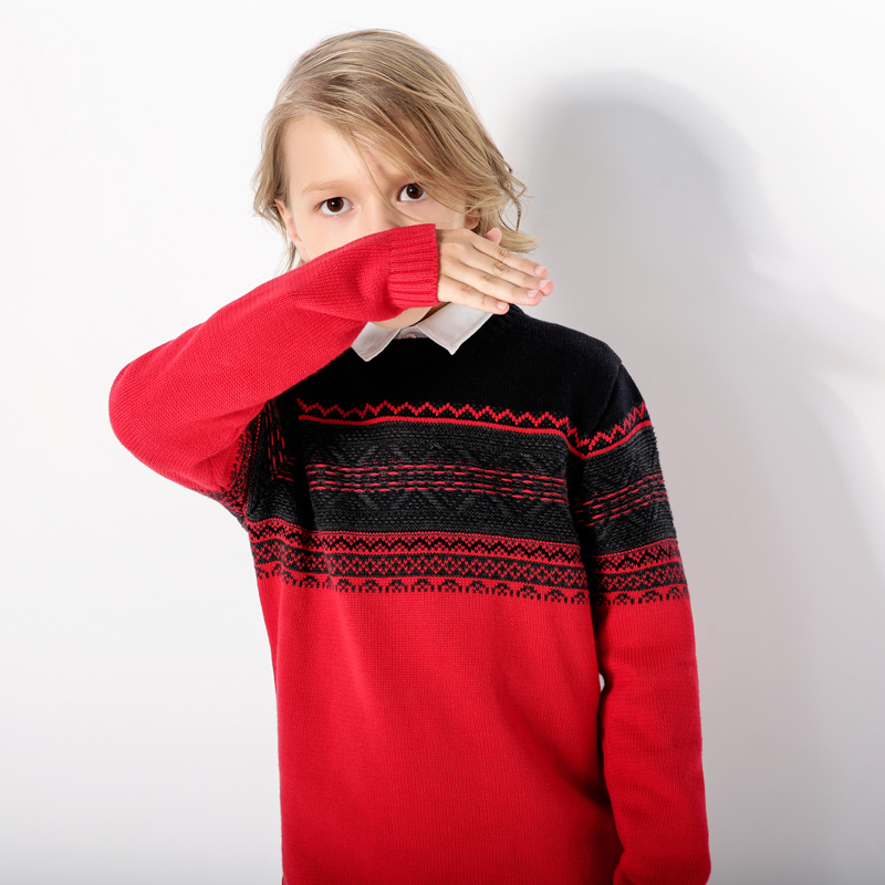 Geo Graphic Long-sleeve Knitted Top for Handsome Boys