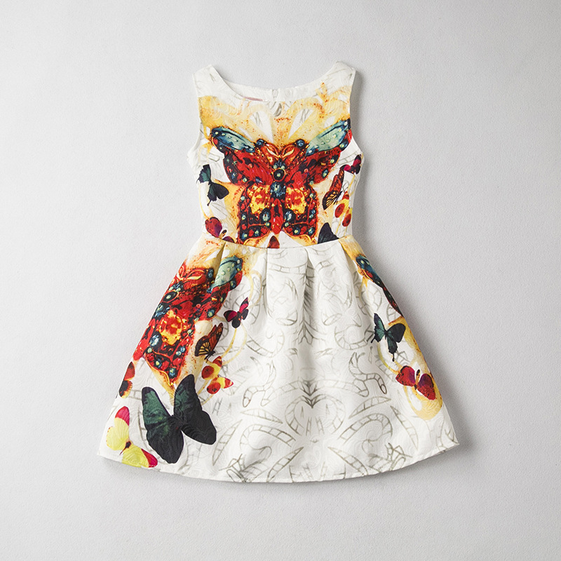 Vibrant Butterfly Print Sleeveless Dress in White for Girl