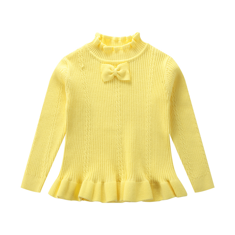 Elegant Stand Collar Knitted Top with Bowknot Decor for Girls