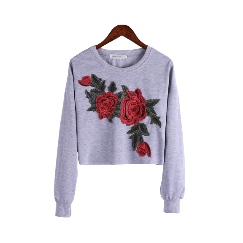 Women Stylish Flower Embroidered Cropped Pullover in Grey